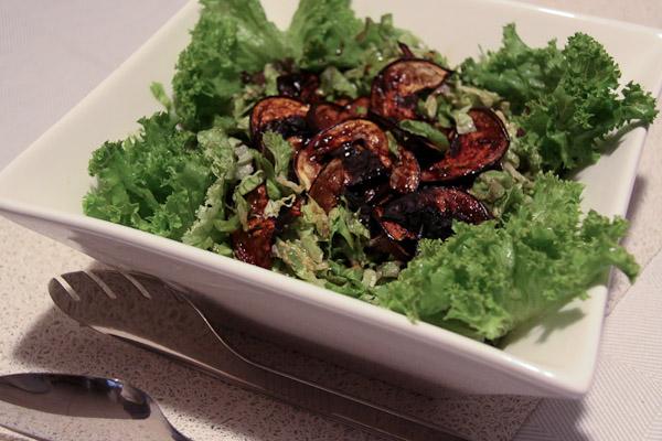 Caesar salad with eggplant bacon