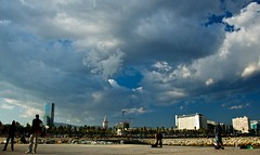 The Shape of Things to Come (Enhanced Reality) Tags: barcelona autumn sky people beach clouds composition contrast spectacular spain nikon wide barceloneta polarizer 2010 d90