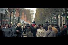 King Of Champs Elyses (and His Bodyguard) :-) (Fabrice Drevon) Tags: street red de dc kid nikon shot 5 candid crowd perspective champs arc triomphe pedestrian cinematic chanel elysees peugeot 135mm f20 d700 fabricedrevon