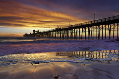 Oceanside Surf - Oceanside Pier, California (PatrickSmithPhotography) Tags: ocean california blue sunset red cloud seascape beach water landscape pier sand paradise surf sandiego wave socal oceanside foam encinitas
