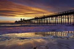 Oceanside Surf - Oceanside Pier, California (PatrickSmithPhotography) Tags: ocean california blue sunset red cloud seascape beach water landscape pier sand paradise surf sandiego wave socal oceanside foam encinitas
