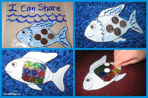 Four different paper fish with pennies on them