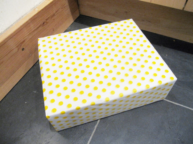 yellow polka dotted box