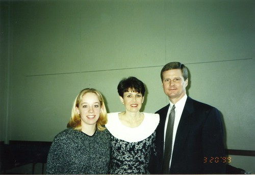Ruth with Elder and Sister Bednar Mar 20, 1999 at Ricks College