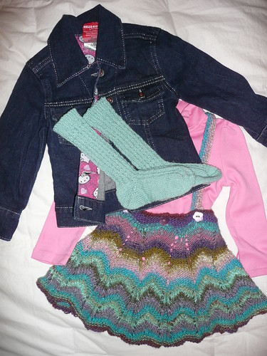 Outfit, including Hello Kitty jean jacket