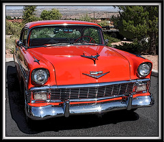 1956 Chevy Bel Air (twm1340) Tags: orange chevrolet belair sport photoshop framed chevy 1956 tweaked coupe 56 posterized