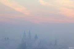 Pink mist / Rov mlha (Jirka Chomat) Tags: city morning pink autumn sunset mist tower fall church river czech prague prag praha czechrepublic bohemia vltava kostel msto mlha ve citytower svtn rno v stechy mstskv