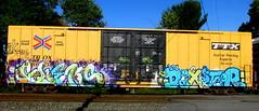 fleks - dexster TAF (timetomakethepasta) Tags: fleks dexster taf 2much tmk foser spanek freight train graffiti boxcar art ttx tbox