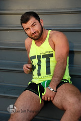 Paul (Levi Smith Photography) Tags: tank top jock strap jockstrap muscle hairy legs fit shorts athletic seductive man mens men mans fashion underwear biceps watch smile beard