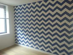 Small Chevrons (Paintzen) Tags: wall art paint wallpaper chevron blue modern zigzag pattern