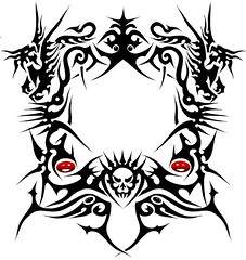 MOLDURA (Black Crown . tribal) Tags: white black art skull design dragon arte tribal esqueleto tatoo ilustration jewel joia
