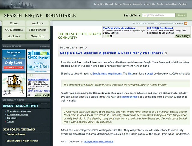 Old Search Engine Roundtable Design