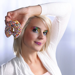 Candy Kiss (Hound of Culann) Tags: portrait woman model candy makeup donut flickrchallengegroup flickrchallengewinner