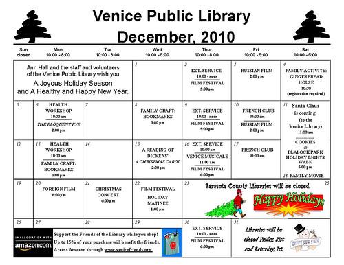 december 2010 calendar. Venice Library, December 2010 Calendar of Events for Adults