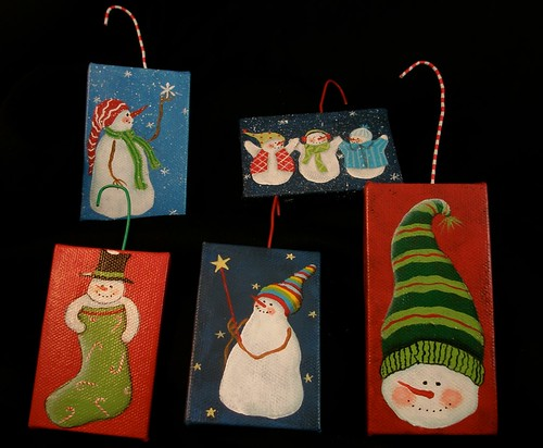 mini canvas ornaments