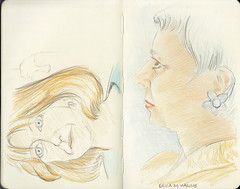 Erica/Stella JKPP meet-up in London (miss embe sketches) Tags: stella pencil sketch erika coloured jkpp