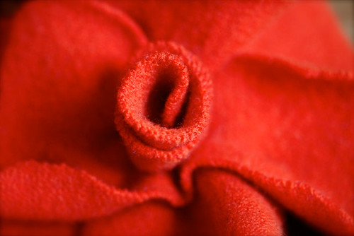 Orange Felted Flower Close Up