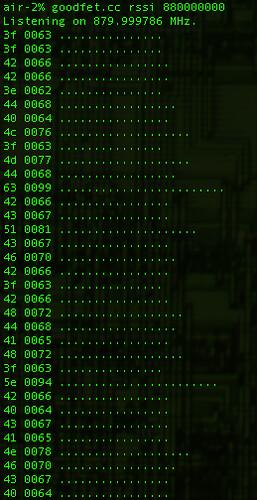 GoodFET CC1110 RSSI Graph