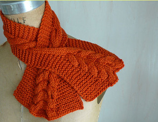 Ravelry: Cabled Keyhole Scarf pattern by Anne Hanson