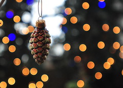 Pinecone Bokeh (Explored) (Photography Through Tania's Eyes) Tags: christmas xmas holiday canada season lights photo nikon photographer bc bokeh britishcolumbia okanagan decoration picture ornament photograph kelowna pinecone christmasdecor copyrightimages 24daysofchristmas taniasimpson gettyholiday2010