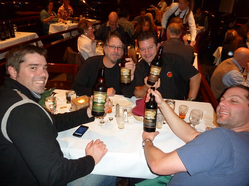 Clockwise from Left: Rich Higgins, John Tucci, Brenden Dobbel & Aron Deorsey with the 4 bottles of dessert