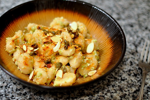 Seared Gnocchi with Green Olive Sauce