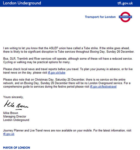 TfL email on Boxing Day Tube Strike