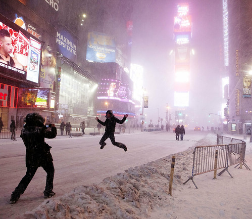 Jumping for joy in Times Square Snowpocalypse - New York Blizzard Snowstorm Blargfest