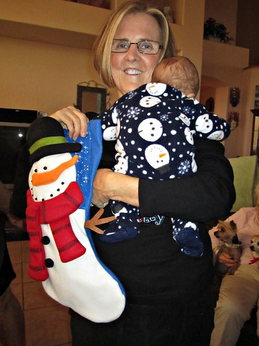 Mom, Henry and his stocking