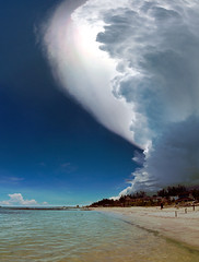 Incoming: Cumulonimbus Capillatus (arnas Burdulis) Tags: blue sea sky panorama cloud storm beach water mexico four gimp olympus panasonic micro linux caribbean thirds cumulonimbus 714 holbox hugin imagemagick bibble esystem mirrorless microfourthirds