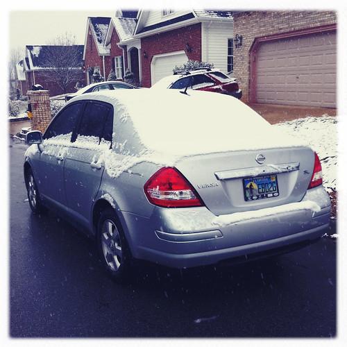 snow on our car :)