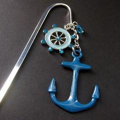 Anchors Away Beaded Book Hook (Gilliauna) Tags: blue handmade navy anchor beaded bookmark bookhook beadedbookmark handmadebookmark