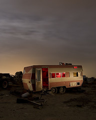 Living In The Pink (Lost America) Tags: night clouds desert fullmoon timeexposure junkyard trailer caravan rv recycling camper nocturnes