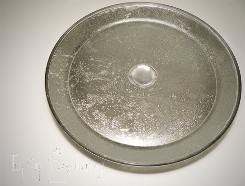 glass cake stand antique mercury glass