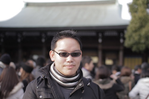 Me in front of the main shrine of Meiji Shrine