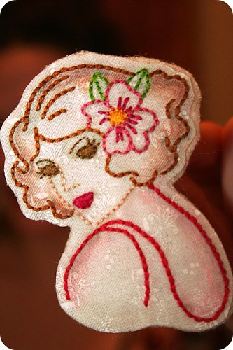 Embroidered Girl Brooch