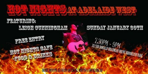 Click here to view or download a larger flyer for Hot Nights at Adelaide West Uniting Church
