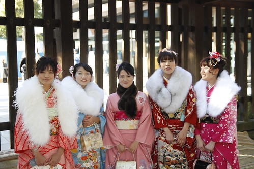 A group of ladies in kimono
