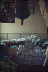 10/365 I Love My Room (Laine Apine) Tags: selfportrait me wall myself poster jump jumping bed mess room clothes tiny messy 365 boathouse day10 myroom mystuff studentlife 1001 uphigh myown allovertheplace project365 365days 3661 bobmarleyposter
