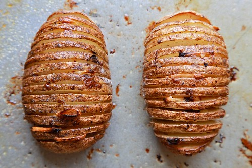 Hasselback Potatoes with Spinach Cashew Pesto - Joy the Baker