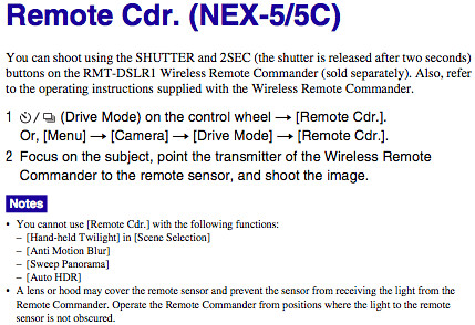 Using the Remote Cdr. setting with the RMT-DSLR1 Wireless Remote Commander, as documented on page 39 of the Sony NEX-5 Handbook