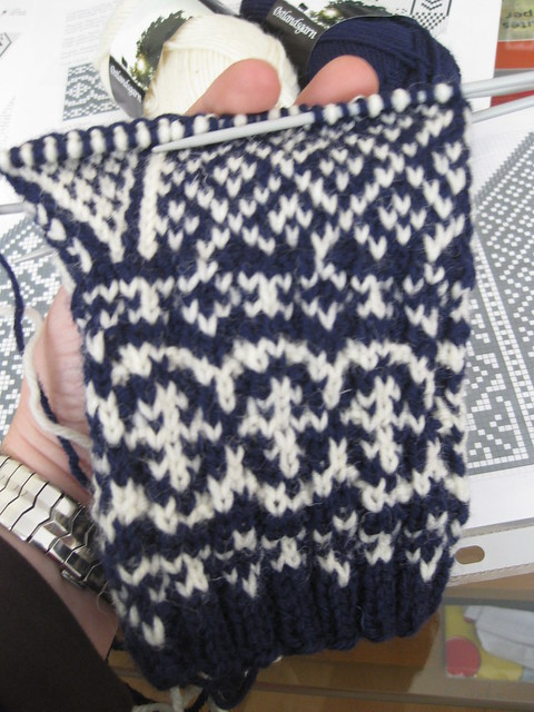 Andalus mittens in progress (palm side)