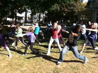 flash mob 1.2 rehearsal at Pleasant Home