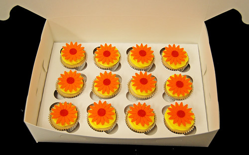 orange red and yellow daisy cupcakes - business gift