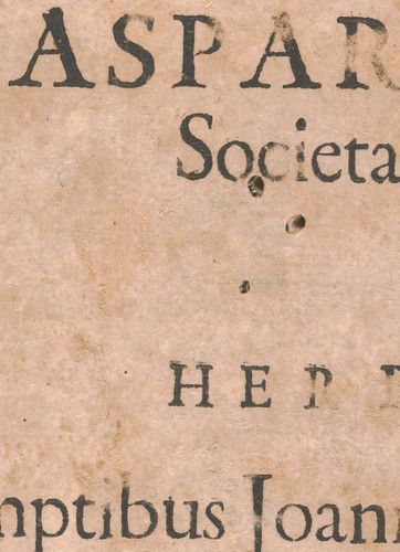 Insect holes in a page from the Pantometrum Kircherianum