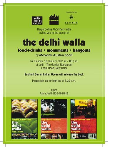 6.30 pm, 18 January – The Delhi Walla Books Launch, Lodhi Restaurant