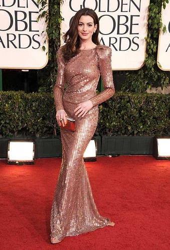 Actress Anne Hathaway arrives at the 68th Annual Golden Globe Aw