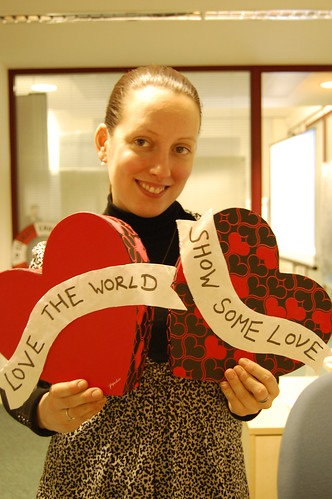 Activists with our love-heart prop having their photograph taken to then use on Facebook as their profile picture to show their support for our world this