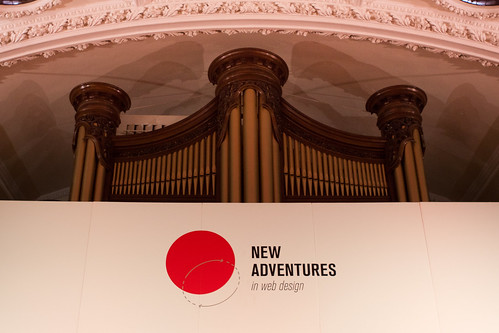 The stage - and the massive organ - at New Adventures