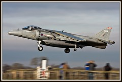 HOW LOW CAN YOU GO!! (Gaz West) Tags: wearing its vertical training plane airplane 1 still fighter navy jet royal land mission after about but former now bomber markings wittering trainer picnik raf 41 hover harrier jumpjet vtol retaining rosepetal codes royalnavy sqn cottesmore retiring vstol ebz gr9 operaters rafconingsby rafwittering zg857